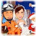 消防士・レスキュー隊員-4(横浜港背景・クリスマスバージョン)