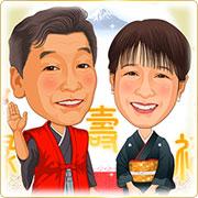 ご贈答用似顔絵ボード:七福神-2-縦(父の日・母の日・還暦お祝い贈答用・A3サイズ)