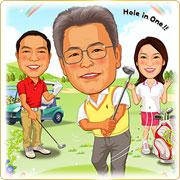 ご贈答用似顔絵ボード:ゴルフ-13-縦(結婚式・父の日贈答:お父様中央3名様・A3サイズ)