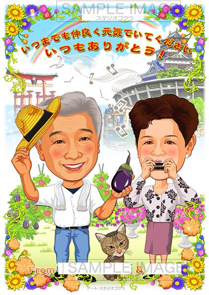 結婚式両親贈答似顔絵ボード:広島-2-1-縦(趣味自慢・思い出の場所)