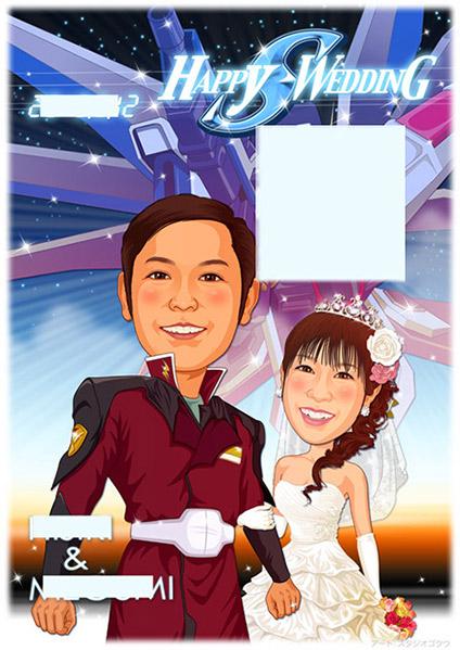 結婚式似顔絵ウェルカムボード:機動戦士ガンダム-1-1-縦(新婦ウェディングドレス)