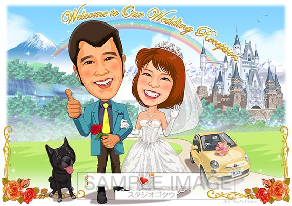 結婚式似顔絵ウェルカムボード:ルパン3世-1-1-横(カリオストロ城)