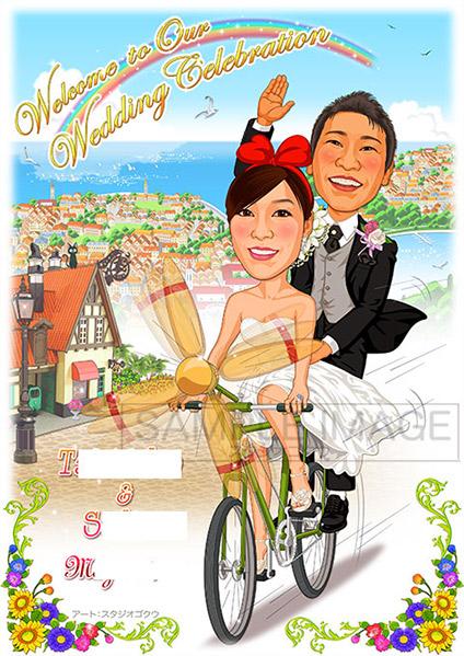 結婚式似顔絵ウェルカムボード:魔女の宅急便-3-1-縦(新婦自転車をこぐ)