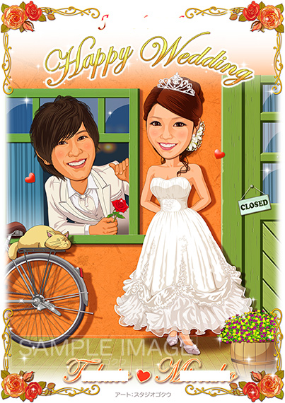 結婚式似顔絵ウェルカムボード:耳をすませば-1-1-縦(ウェディングドレスとタキシード)
