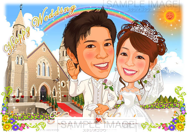 結婚式似顔絵ウェルカムボード:教会ヴァージンロード-2-1-横(レッドカーペット、新郎騎手姿・愛犬・愛馬)