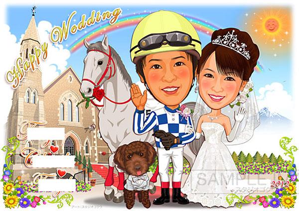 結婚式似顔絵ウェルカムボード:教会ヴァージンロード-6-1-横(新郎騎手姿・愛馬と愛犬)