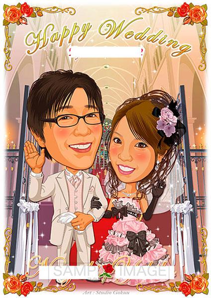 結婚式似顔絵ウェルカムボード:教会聖堂ホール-1-1-縦(定番背景・オリジナル衣裳)