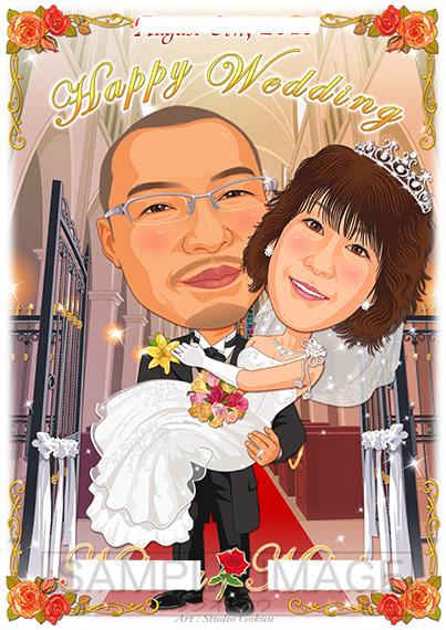 結婚式似顔絵ウェルカムボード:教会聖堂ホール-2-1-縦(定番背景・オリジナル衣裳)