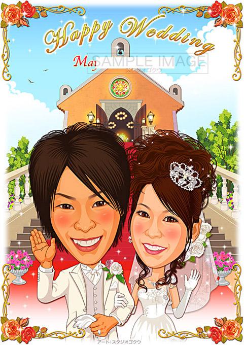 結婚式似顔絵ウェルカムボード:教会階段-1-1-縦(定番背景)