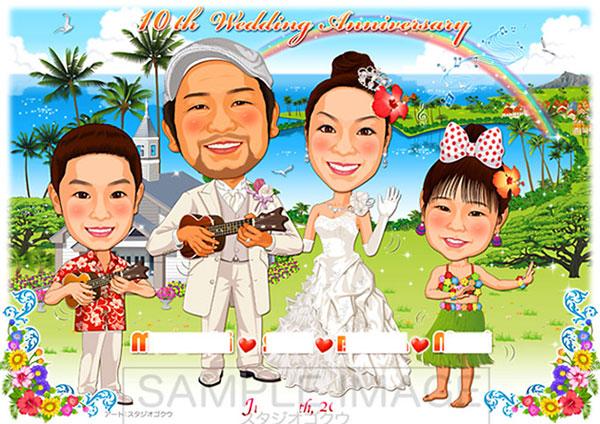 結婚式似顔絵ウェルカムボード:ハワイ-4-1-横 (アロハ・ケ・アクア・チャペルとハート型湖)