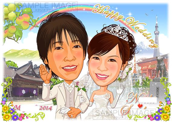 結婚式似顔絵ウェルカムボード:ふるさと自慢-12-1-横 (和歌山 vs 東京 お土産名所名物)