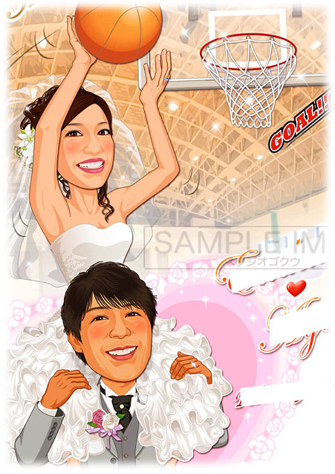 結婚式似顔絵ウェルカムボード:バスケットボール-3-1-縦(肩車ダンクシュート、室内球場)