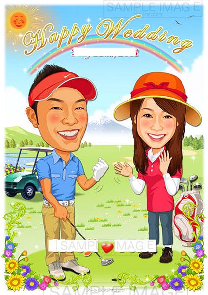 結婚式似顔絵ウェルカムボード:ゴルフ-2-1-縦(石川遼・キャディーコスチューム)