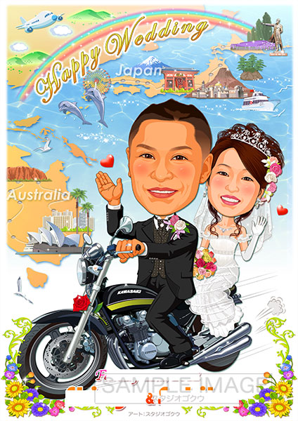 結婚式似顔絵ウェルカムボード:愛車バイク-11-1-縦(思い出の旅先・マップバージョン)