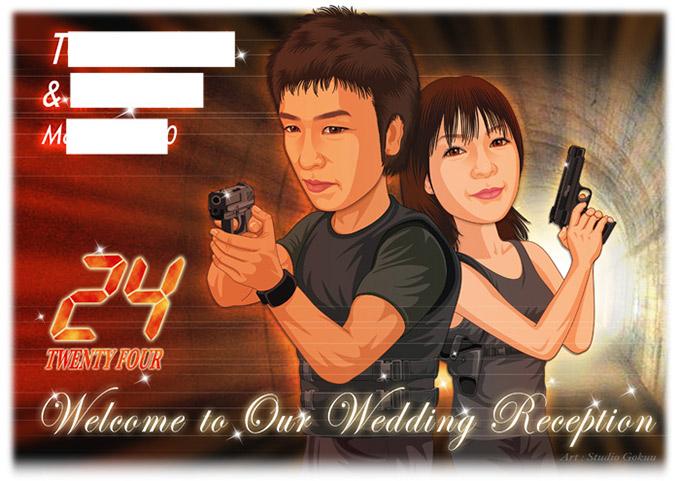 結婚式似顔絵ウェルカムボード:24-TWENTY FOUR-1-横(海外テレビドラマ・トゥエンティフォー)