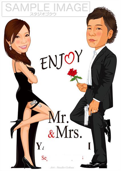 結婚式似顔絵ウェルカムボード:Mr&Mrsスミス-1-1-縦(映画名場面)