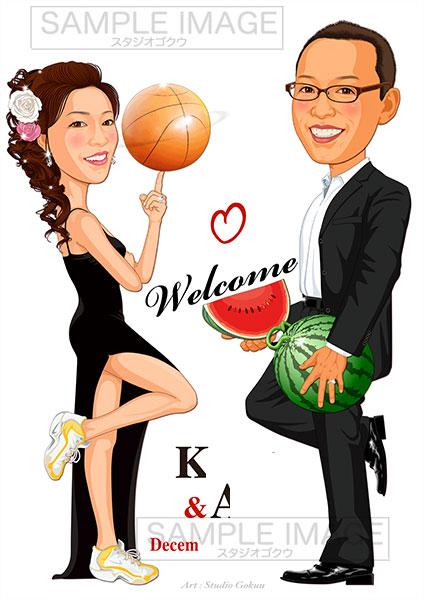 結婚式似顔絵ウェルカムボード:Mr&Mrsスミス-2-3-縦(お仕事・趣味自慢バージョン)