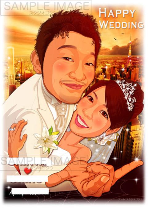 結婚式似顔絵ウェルカムボード:スパイダーマン-3-1-縦(名場面ポーズ・ドレスタキシード)