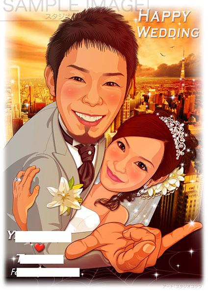 結婚式似顔絵ウェルカムボード:スパイダーマン-3-2-縦(名場面ポーズ・ドレスタキシード)