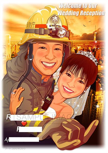 結婚式似顔絵ウェルカムボード:スパイダーマン-5-1-縦(消防レスキュー隊救助服)