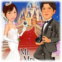 結婚式ウェルカムボード・シンデレラ城階段背景