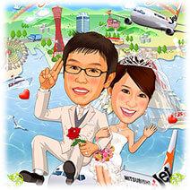 神戸港背景似顔絵ウェルカムボード