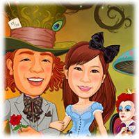 不思議の国のアリス-似顔絵ウェルカムボード