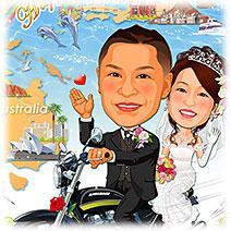 愛車バイクで思い出の旅-似顔絵ウェルカムボード