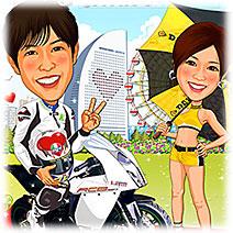 バイクレーサーとレースクイーン似顔絵ウェルカムボード