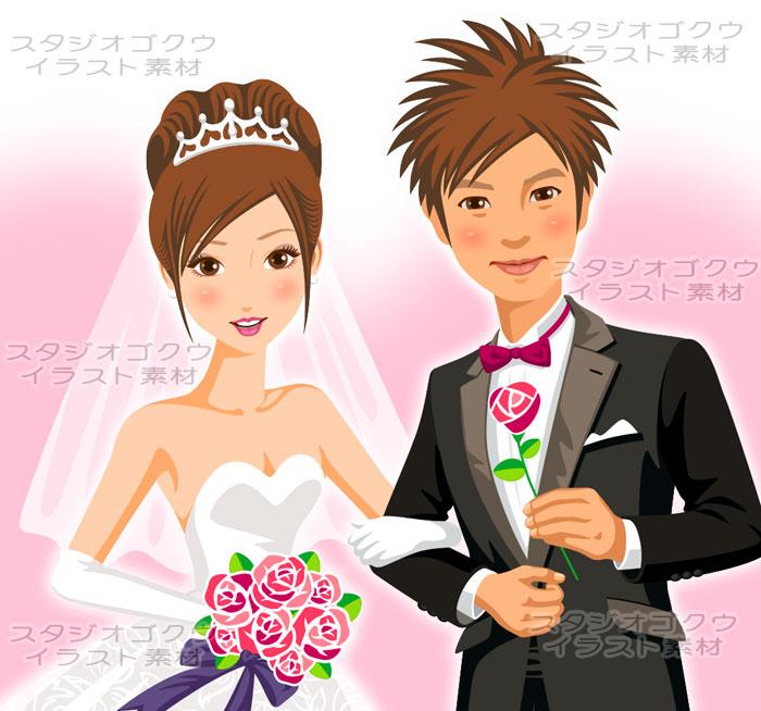 ウェディングイラスト素材カット「結婚式新郎新婦イラスト-1」