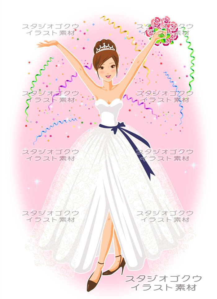 ウェディングイラスト素材カット 11新婦花嫁イラスト 結婚式の