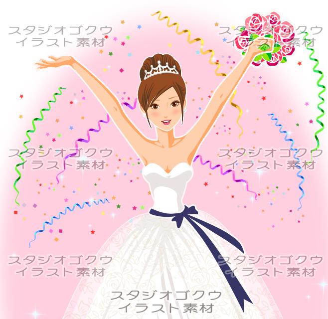 ウェディングイラスト素材カット「結婚式新婦・花嫁イラスト-11」