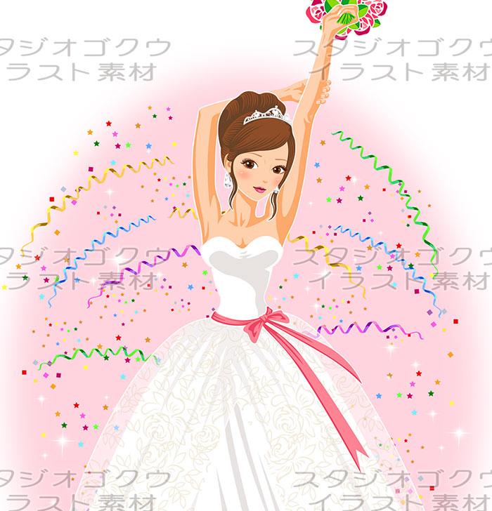 ウェディングイラスト素材カット「結婚式新婦・花嫁イラスト-12」