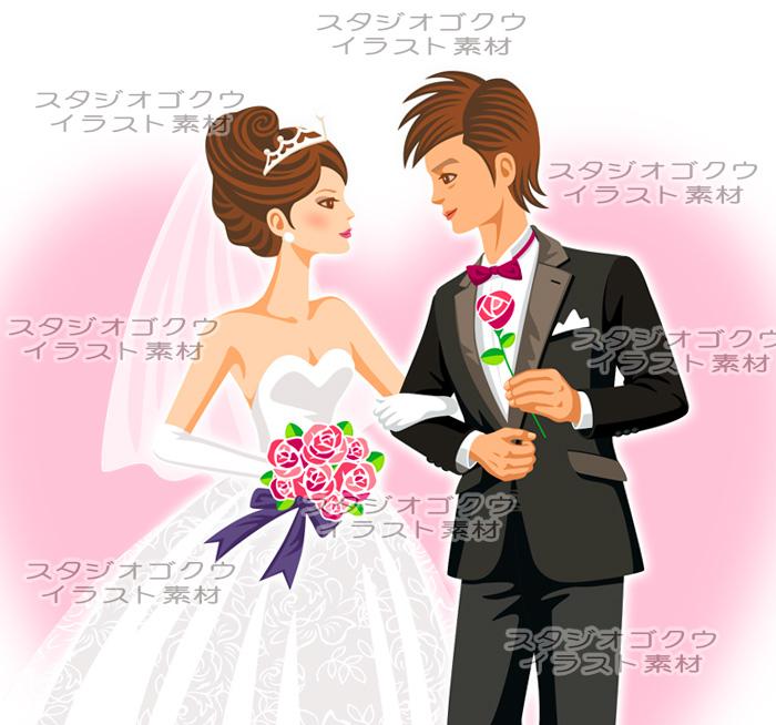 ウェディングイラスト素材カット「結婚式新郎新婦イラスト-2」