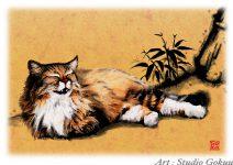 伝統中国水墨画調猫
