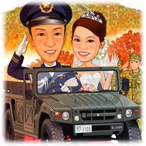 陸上自衛官新婚カップル・鳥取大山背景