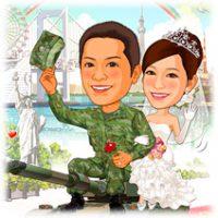 陸上自衛官新婚カップル似顔絵ウェルカムボード