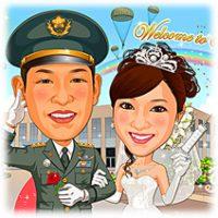 自衛官と白衣天使のお似合いカップルの似顔絵ウェルカムボード
