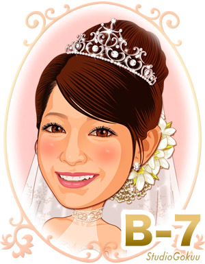 結婚式新婦・花嫁髪型ヘアスタイル似顔絵見本パターン「B-7」