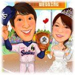 野球-1-7-縦(新郎東京ヤクルトスワローズユニフォーム姿・新婦ウェディングドレス)
