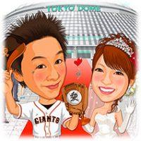 野球球場東京ドーム背景、巨人読売ジャイアンツユニフォーム姿似顔絵ウェルカムボード