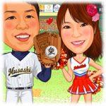 似顔絵ウェルカムボード:野球-7-縦(新郎ナイスキャッチポーズ・新婦チアガール)