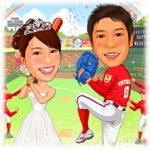 似顔絵ウェルカムボード:野球-15-縦(野球ドーム・広島東洋カープユニフォーム)