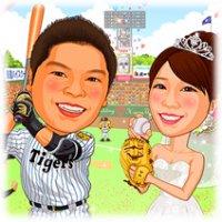 野球似顔絵ウェルカムボード・阪神タイガース