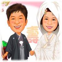 ビリヤード名人の新婚カップル・似顔絵ウェルカムボード