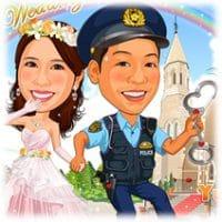 似顔絵ウェルカムボード:警察官-2-3(「ご同行願う」夏制服