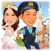似顔絵ウェルカムボード:警察官-2-3-横(「ご同行願う」夏制服バージョン)