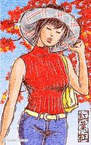 女性と紅葉の版画調イラスト