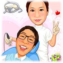 歯医者夫婦-似顔絵ウェルカムボード