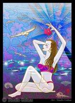 ステンドグラス風装飾画インテリアアート『海辺の女』